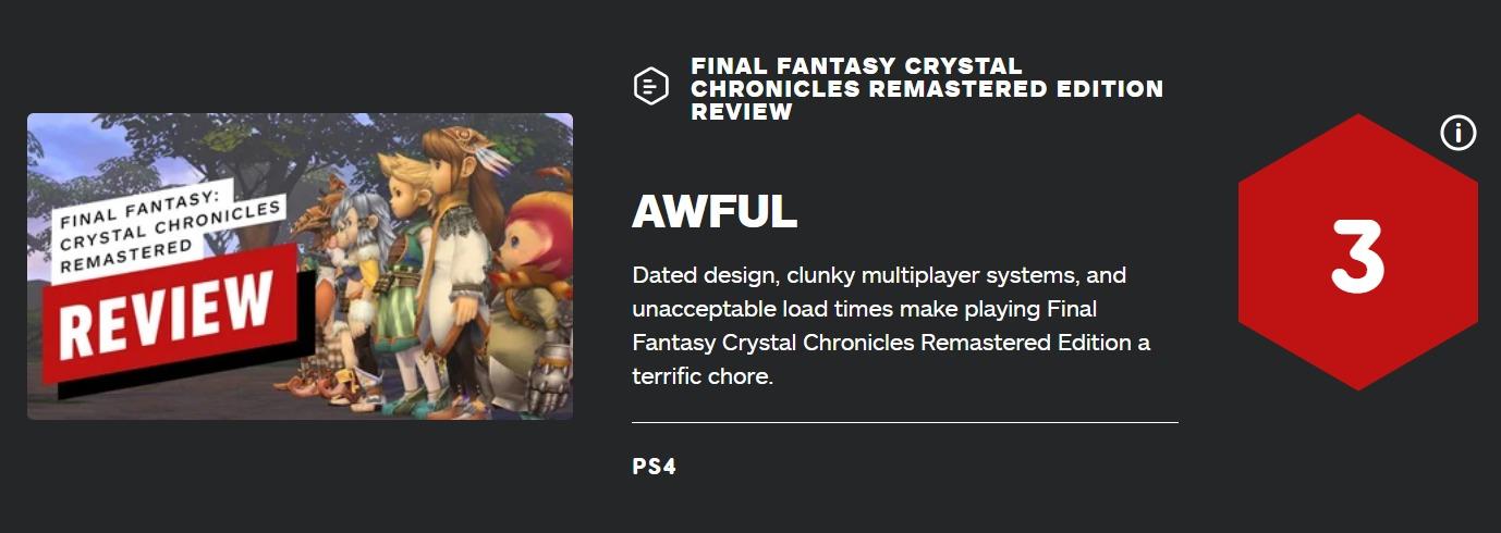 IGN「FFCCは3/10、時代遅れであまりにひどい。残念だが過去の不満点が解消されていなかった」